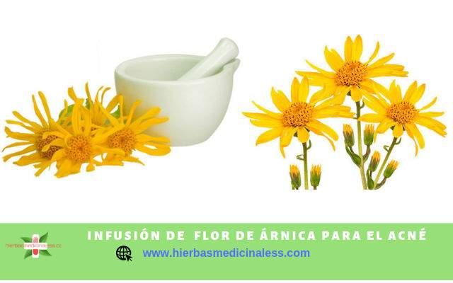 infusión de flor de árnica para el acné